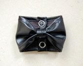 Bow Tie Cuff Bracelet Faux Leather Black