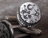Moon Cufflinks - Silver Sci Fi - Men's Jewelry Accessories