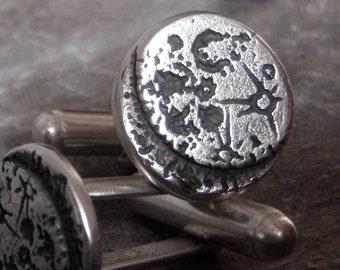 Moon Cufflinks - Silver Sci Fi - Ready to Send!
