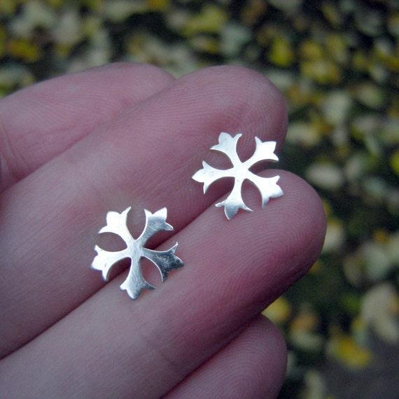 Silver Studs - Stars Snowflake