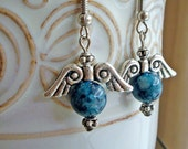 Midnight Blue Round Jade Azteca Earrings