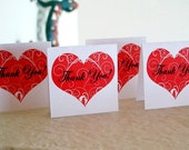 8 Custom 2x2 Mini Valentine's Day Cards -  Heart Thank You