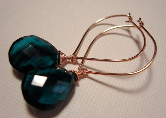 Rose gold and teal hoop earrings