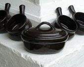 Vintage Bean Pot Set Stoneware Dark Brown REDUCED