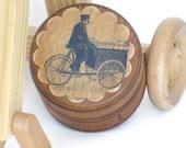 Vintage Style German Luggage Tricycle Wooden Powder Box Antiqued Wrinkled Paper Unique Keepsake or Trinket Gift Box