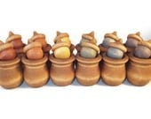 Waldorf Toy Wooden Acorns Memory Game Earth Tones Rainbow Eco-Friendly Bean Pot Candle Cup Educational Montessori Toddler Imaginary Play