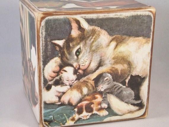 Wooden Story Block & Vintage Little Golden Book Four Little Kittens OOAK Nursery Decor Baby Shower Gift Set Handmade Upcycled Repurposed