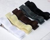 Tuxedo hair clip bows in neutral shades set of 5