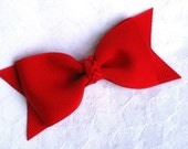 Red bow tie hair bow clip