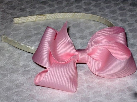 Ivory headband with baby pink hair bow