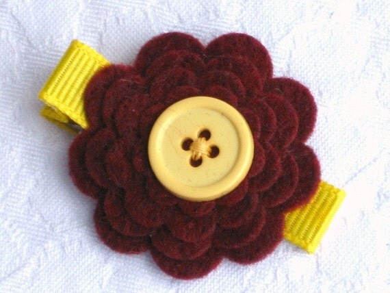 Felt flower hair clip in cranberry and yellow