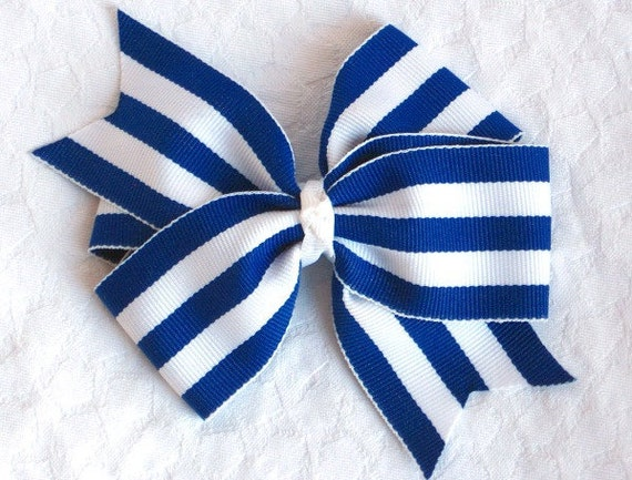 Blue and white stripes hair bow clip