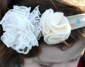 Toddler Headband - Vintage Inspired - Cream and Teal Polka Dot -  Lace Flower Embellishments