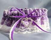 Purple and ivory garter, Wedding Garter , beautiful purple satin and Ivory Lace with heart, heart garter, crystal garter, lace garter
