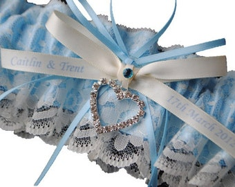 Custom Wedding Garter , beautiful personalized blue satin and Ivory Lace with heart