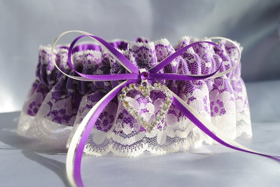Purple and ivory garter, Wedding Garter , beautiful purple satin and Ivory Lace with heart, heart garter, crystal garter, lace garter