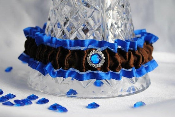 Wedding Garter , beautiful blue and chocolate with gorgeous blue rhinestone, royal blue, electric blue, chocolate brown and royal blue