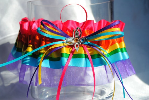Wedding Garter SET beautiful over the Rainbow design Ra-ra Pink, orange, yellow, green, purple and blue with butterfly charm