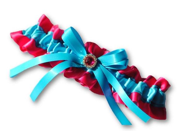 Turquoise Fuchsia Wedding: Items Similar To Pink And Aqua Blue Wedding Garter