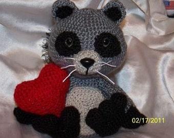 Randolph the Crochet Raccoon Love Bandit