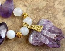 Amethyst Crystals Choker with Snow Quartz and Gold Vermeil