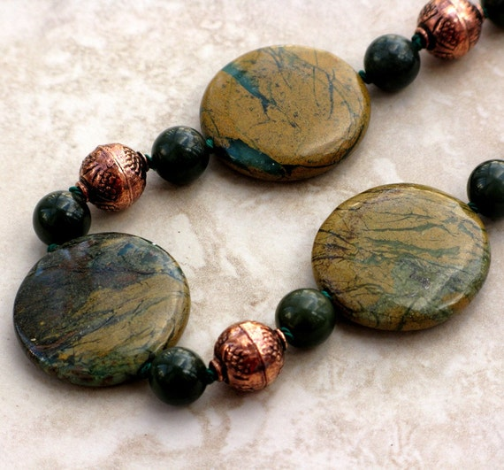 Verdite Disk Necklace with Jade and Indian Copper