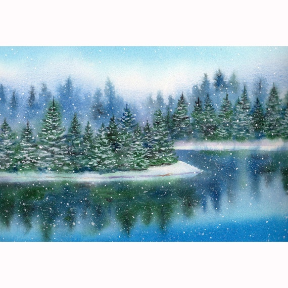 Winter Landscape With Pine Trees Lake And Snow Print From