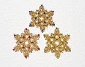 Snowflake Ornaments Beaded Gold with Red, Blue and Green Set of Three
