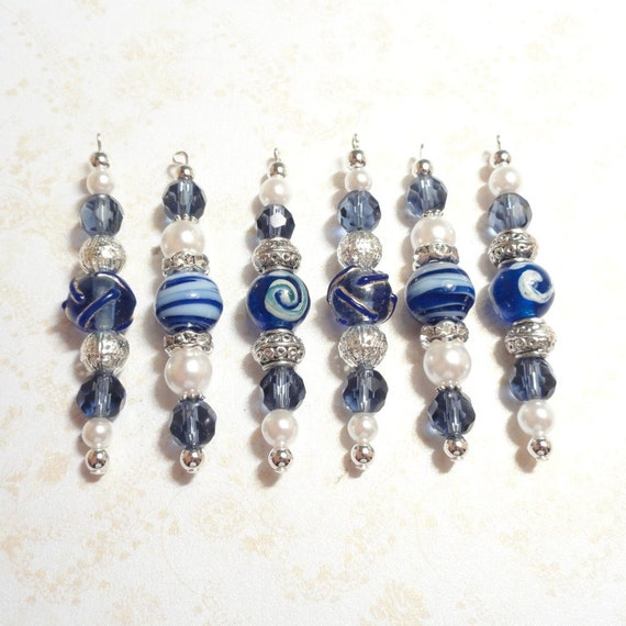 Christmas Decorations Icicle Ornaments: Christmas Ornaments Beaded Icicles Blue White And By JanJat