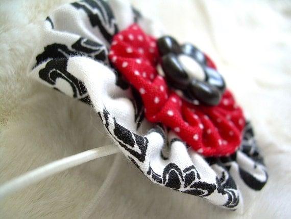 Ponytail Holder Hair Bow Mix-n-Match  YoYo Rings Red White Black