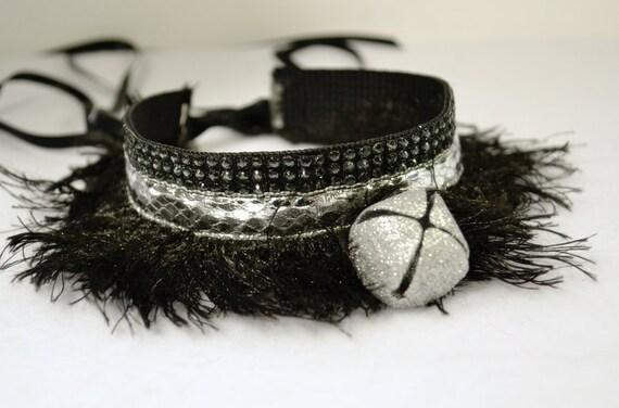 Silver Snakeskin Fringe Kitten Collar with Bell