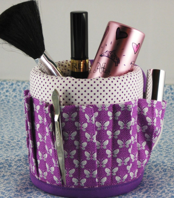 Coffee Mug Cup Aprons Covers Have Stuff will Organize Makeup Butterfly Dot Purple Violet