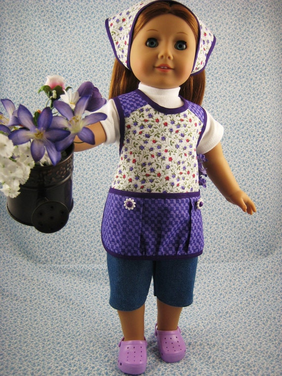 American Girl Gardening Doll Clothes Purple 4 Piece Apron Outfit Set for 18 inch Dolls