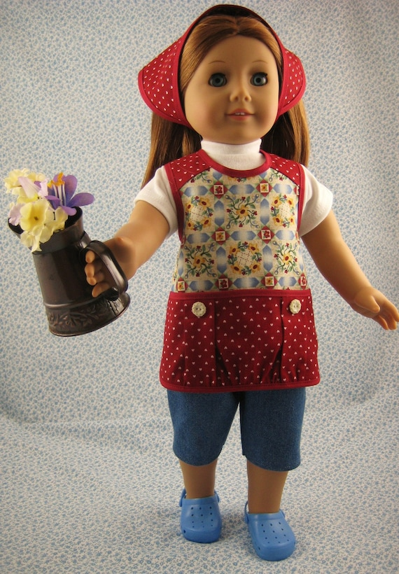 American Girl Gardening Doll Clothes Red 4 Piece Apron Outfit Set for 18 inch Dolls