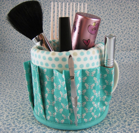 Coffee Mug Cup Aprons Covers Have Stuff will Organize Makeup Butterfly Dot Aqua Turquoise