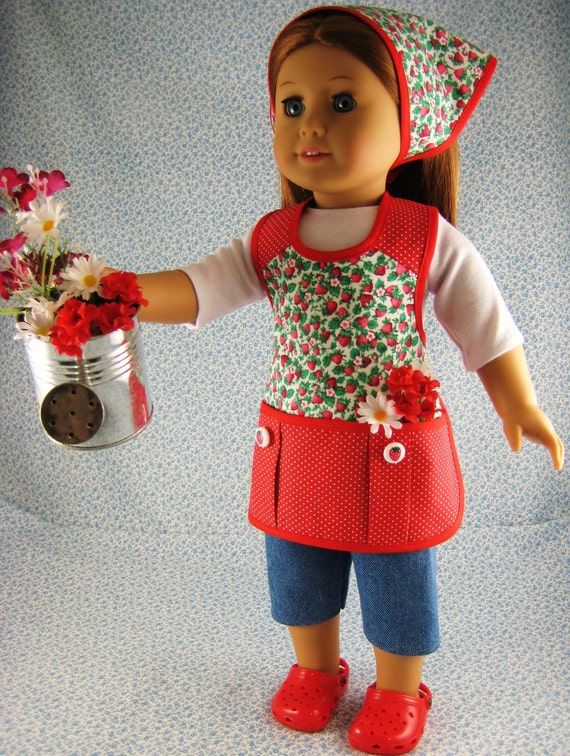 American Girl Gardening Doll Clothes Red Strawberry 4 Piece Apron Outfit Set for 18 inch Dolls