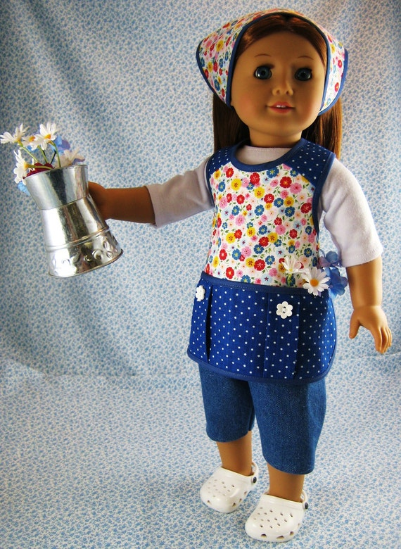 American Girl Gardening Doll Clothes Blue 4 Piece Apron Outfit Set for 18 inch Dolls