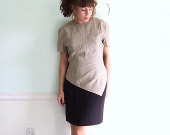 Dress 80s Short Sleeve Crackle Patterned FIN Tucked Mini Dress S/M Volenska Vintage