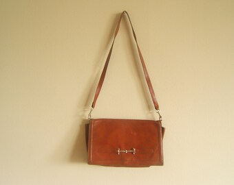 Leather Bag: Reddish Brown Clutch