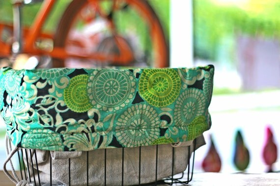 Bicycle Basket LIner - Turquoise and Lime Bicycle Bag / Basket Liner  with a drawstring