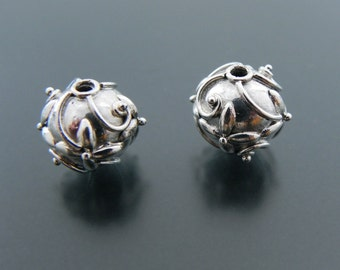 Sterling Silver Floral Bead 14mm Jewelry Supply Jewelry Findings