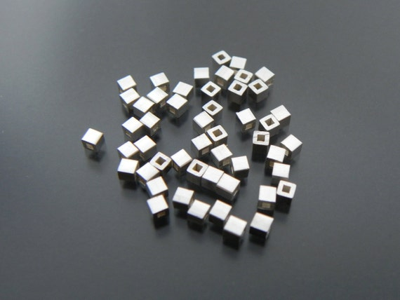 Sterling Silver 2 mm Cube Bead 25 pcs Sterling Silver Jewelry Supply Jewelry Finding