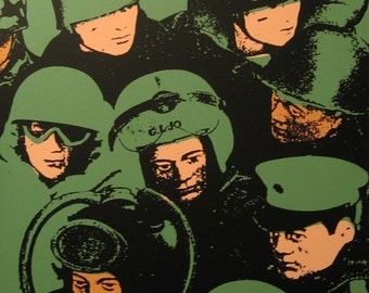 G. I. joe dolls - a 20 x 24 silkscreen painting on stretched canvas, in green