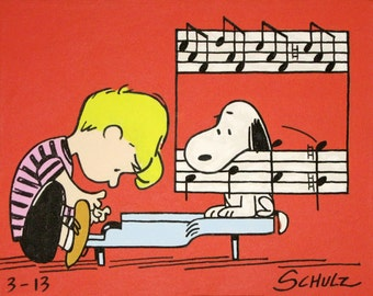 schroeder & snoopy peanuts comic painting from the 60s