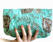 Handmade Clutch Purse Silk Gold Embroidery Aquamarine