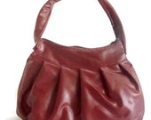 Garnet Red Leather Bag Pleated Vegan Purse Zip Top- 60% OFF