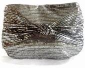 Silver clutch bag metallic  sequins bow Valentine