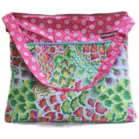 Amy Butler Purse Zippered Jade Green Pink Waterproof large
