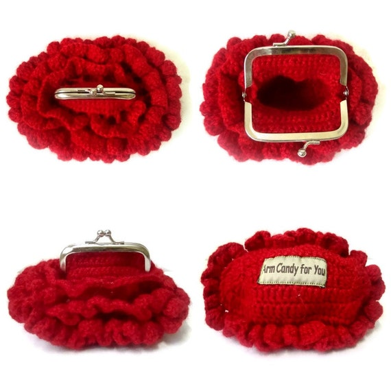 Frame Coin Purse Crochet Garnet Red with ruffles