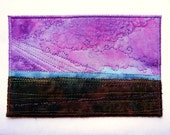 Wish You Were Here no.40 Quilted 4x6 Fibre Art Prairie Postcard Mail Art